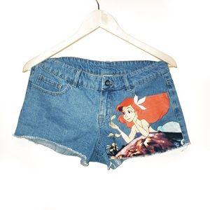 Disney Little Mermaid Cut Off Denim Shorts